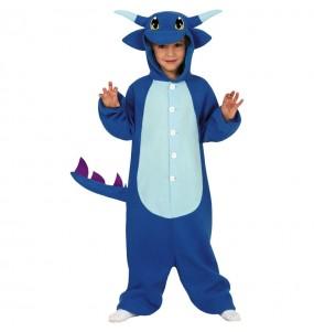 Disfarce Halloween Dragão azul kigurumi para meninos para uma festa do terror