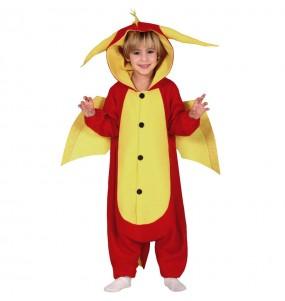 Disfarce Halloween Dragão vermelho kigurumi para meninos para uma festa do terror