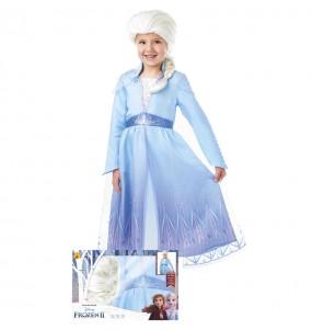 Fato de Elsa Frozen com peruca para menina