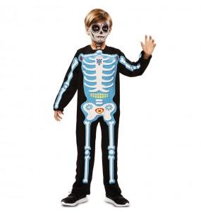 Fato de Esqueleto azul dia dos mortos para menino