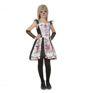 Disfarce Halloween Esqueleto Catrina branco meninas para uma festa Halloween