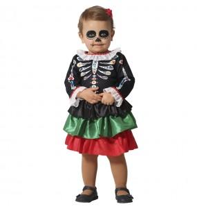 Fato de Esqueleto Catrina para bebé