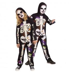 Disfarce Halloween Esqueleto colorido para crianças para meninos para uma festa do terror