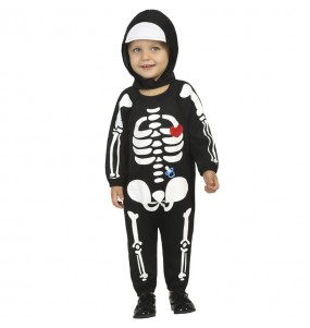 Fato de Esqueleto com capuz para bebé