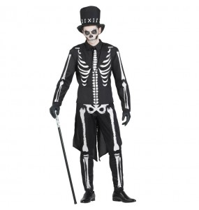 Fato de Esqueleto Elegante adulto para a noite de Halloween