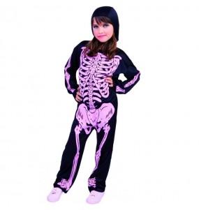 Fato de Esqueleto com ossos cor-de-rosa para menina
