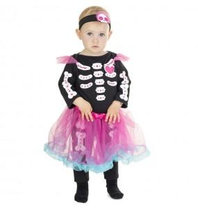 Fato de Esqueleto com tutu rosa para bebé