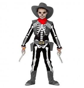 Disfarce Halloween Esqueleto Cowboy para meninos para uma festa do terror