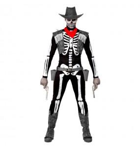 Fato de Esqueleto Cowboy adulto para a noite de Halloween