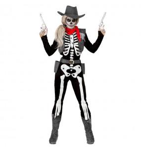 Fato de Esqueleto Cowgirl mulher para a noite de Halloween