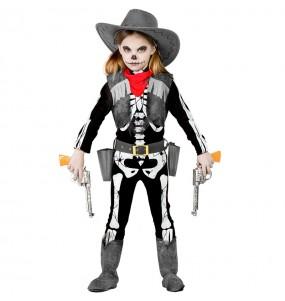 Disfarce Halloween Esqueleto Cowgirl meninas para uma festa Halloween