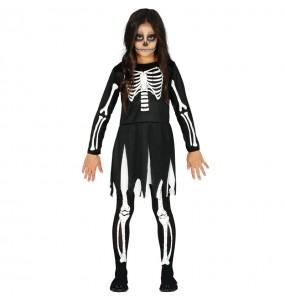 Fato de Esqueleto das trevas para menina