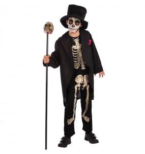 Disfarce Esqueleto Dia do Morto menino para deixar voar a sua imaginação