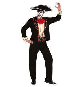Fato de Esqueleto de Dia dos Mortos adulto para a noite de Halloween