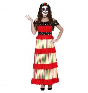 Fato de Esqueleto de Dia dos Mortos mulher para a noite de Halloween