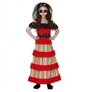 Disfarce Halloween Esqueleto de Dia dos Mortos meninas para uma festa Halloween
