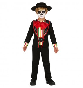 Disfarce Halloween Esqueleto de Dia dos Mortos para meninos para uma festa do terror