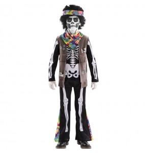 Disfarce Halloween Esqueleto Hippie meninos para uma festa do terror