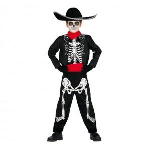 Disfarce Halloween Esqueleto mexicano para meninos para uma festa do terror