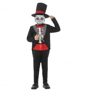 Fato de Esqueleto mexicano Catrin para menino