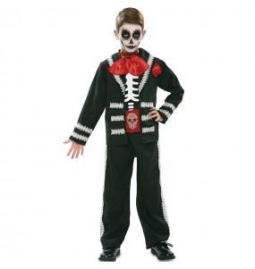 Fato de Esqueleto mexicano preto para menino