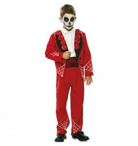 Fato de Esqueleto mexicano vermelho para menino