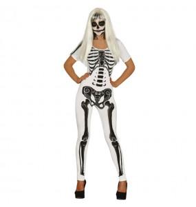 Fato de Esqueleto branco mulher para a noite de Halloween
