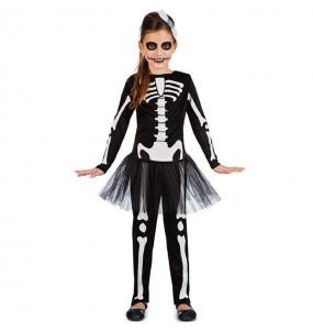 Fato de Esqueleto preto com tutu para menina