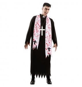 Fato de Padre religioso zombie adulto para a noite de Halloween