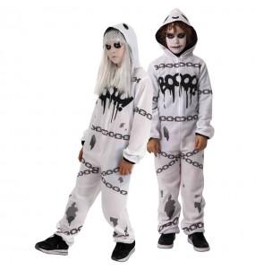Disfarce Halloween Fantasma kigurumi para meninos para uma festa do terror