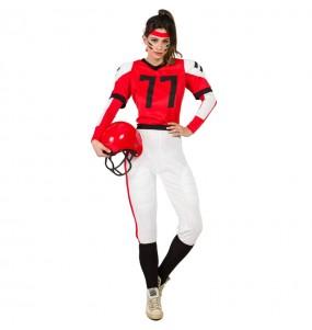 Disfarce original Futebol Americano Vermelho mulher ao melhor preço