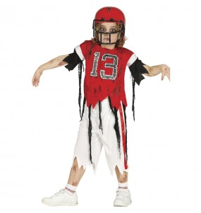 Disfarce Halloween Jogador de futebol americano zombie para meninos para uma festa do terror