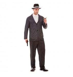Disfarce Gangster em preto adulto divertidíssimo para qualquer ocasião