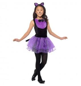 Fato de Gata púrpura com tutu para menina