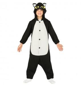 Disfarce Halloween Gato preto kigurumi para crianças para meninos para uma festa do terror