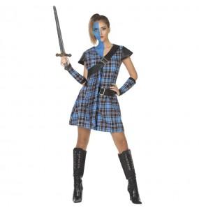 Fato de Guerreira Escocesa azul para mulher