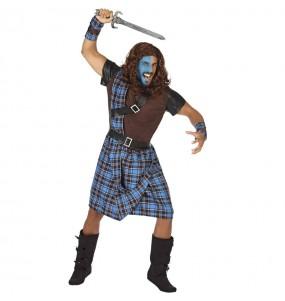 Fato de Guerreiro escocês azul para homem