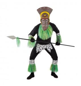 Disfarce Guerreiro Zulu Africano adulto divertidíssimo para qualquer ocasião