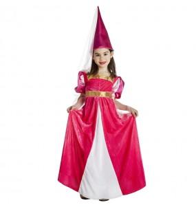 Fato de Fada medieval cor-de-rosa para menina