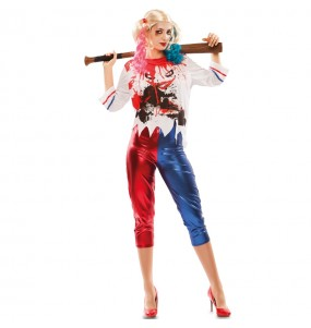 Fato de Harley Quinn Arkham mulher para a noite de Halloween