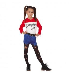 Fato de Harley Quinn banda desenhada para menina