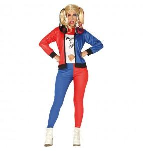Fato de Harley Quinn supervilã mulher para a noite de Halloween