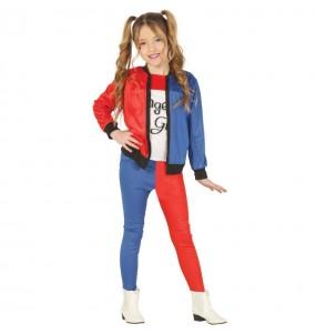 Disfarce Halloween Harley Quinn supervilã meninas para uma festa Halloween