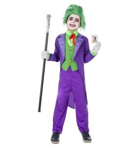 Disfarce Halloween Joker Supervilão meninos para uma festa do terror
