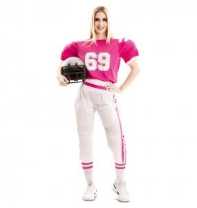 Fato de Jogadora de Rugby Rosa para mulher