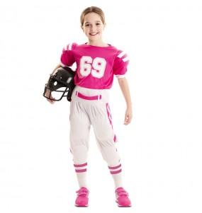 Fato de Futebol americano rosa para menina
