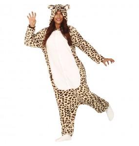 Disfarce japonês Leopardo Kigurumi adulto divertidíssimo para qualquer ocasião