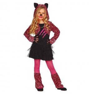 Fato de Leopardo rosa para menina