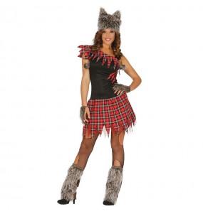 Fato de lobisomem mulher para a noite de Halloween