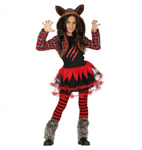 Disfarce Halloween lobisomem meninas para uma festa Halloween